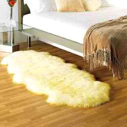 DOUBLE Pelt SHEEPSKIN RUG sheep skin Fur   IVORY HAIR m