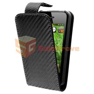 Black Carbon Fiber Leather CASE+Car Charger+PRIVACY FILTER for iPhone