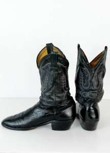 vintage mens black COWBOY WESTERN BOOTS embroidered leather OLD sz 9.5