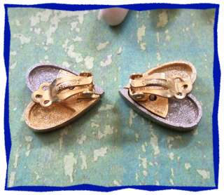 Vintage LES BERNARD Gold Silver Heart Clip Earrings