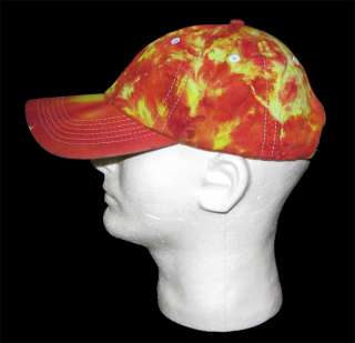 NEW Tie dye BASEBALL CAP Hat Mottled Red & Yellow Fire