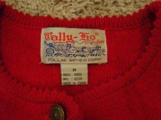 Vtg Tally Ho Womens M Red Wool Cardigan Sweater