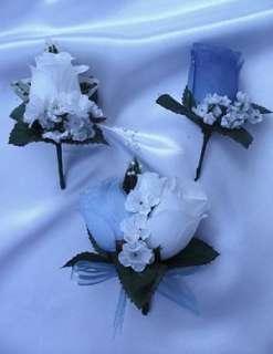 21pcs Bridal bouquet wedding flowers ROYAL BLUE / WHITE