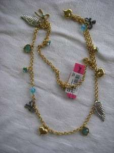 BETSEY JOHNSON GOLD TONE NECKLACE WINGS HEARTS BOWS USA