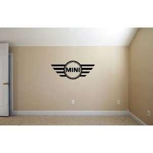 Mini Cooper Emblem BLACK Wall Garage Room Vinyl Decal SET
