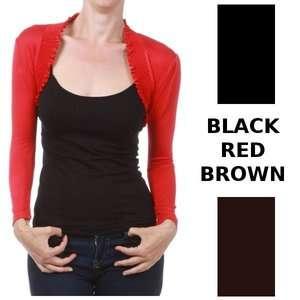 LONG SLEEVE RUFFLED SHRUG BOLERO CARDIGAN S M L XL womens *red black