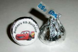 216 DISNEY CARS BIRTHDAY PARTY FAVORS HERSHEY KISS LABELS