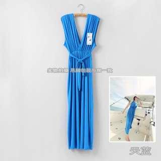 SEXY BOHO Womens V neck straps Full length long Beach Dresses 9 colors