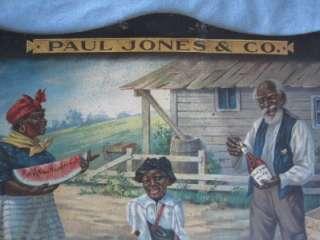 Vintage Paul Jones Whiskey Sign Stereotype Black Americana Comic