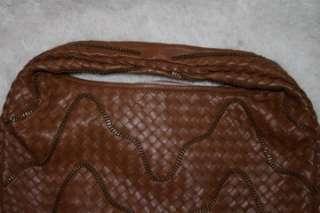 BOTTEGA VENETA Brown Woven Soft Leather Chain Hobo Bag