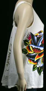 ED Hardy Womens Shark Rose Tank cover up One Size NWT