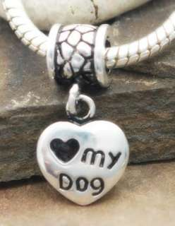 925 SILVER BEAD EUROPEAN CHARM DANGLE LOVE MY DOG #128