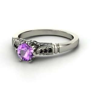 Elizabeth Ring, Round Amethyst 14K White Gold Ring with Black Diamond