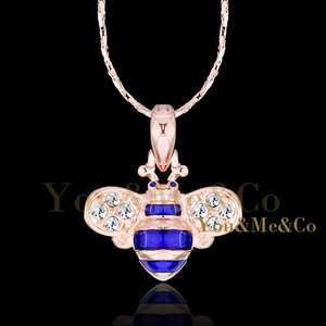 18k Rose Gold EP Brilliant Cut Crystal BLUE BEE Pendant Necklace
