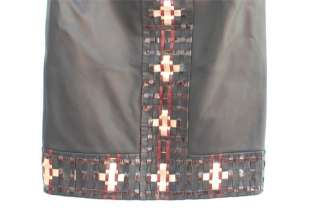 11A $6,500 Embroidered Gold Cross Lambskin Black Leather Skirt 36 NR