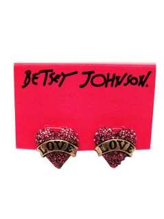 NEW Betsey Johnson Shocking Pink Love Heart Stud Earrings