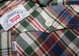 Vtg Plaid LEVIS WESTERN Rockabilly Button Up Shirt Large L