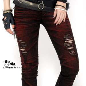 Punk Unisex Bloodycat Rock Destroyed Ripped Jeans S,M,L