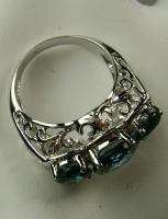 7ct 3 Stone Blue Sapphire Sterling Silver 925 Filigree Cocktail Ring