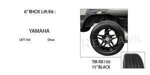 Yamaha Cart 15 Tire, Wheel, RHOX Lift Kit Pack Black