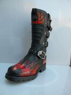 NEWROCK New Rock 7603   S1 Black Red Flame Biker Motorcycle Boots