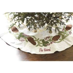 Pine Cone Crewel Tree Skirt  Ballard Designs