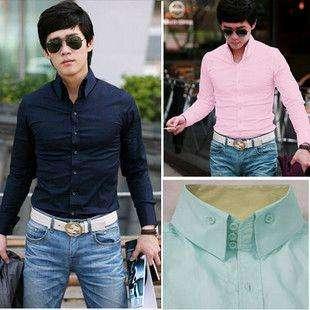 2011 Mens Slim Fit Luxury Dress Shirts Pink Blue white