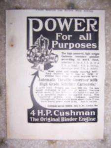 1913 Cushman Binder Engine Ad Schebler Carburetor NE O