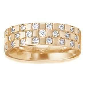 GOLDMAN Womens 14k White Gold Eternity Diamond Cross Wedding Ring (6