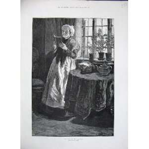 1884 Rainey Fine Art Old Lady Woman Reading Book Table