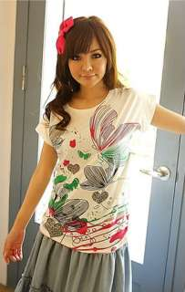 A8338 Japan Korea Fashion Women Ladies Green Butterflies Printed