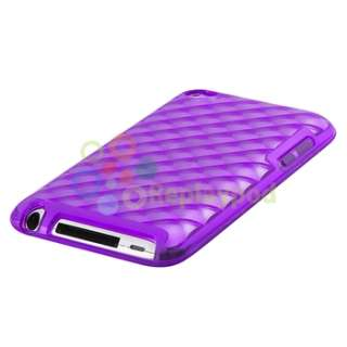 Clear Purple Diamond TPU Rubber Case Cover+Privacy Filter For iPod