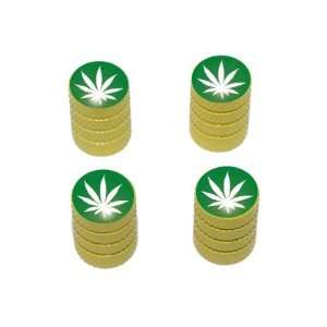 Marijuana Leaf   Weed Pot Tire Valve Stem Caps   Yellow