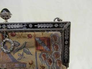 Antique Sterling&Enamel Frame Petit Point My Only Desire Purse French