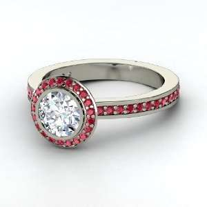 Roxanne Ring, Round Diamond Platinum Ring with Ruby