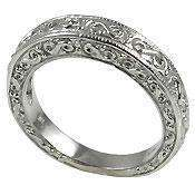 ANTIQUE STYLE ENGRAVED WEDDING BAND SOLID 14K GOLD