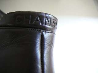 AUTHENTIC CHANEL CC LOGO BOOTS HEELS SHOES 39 BROWN