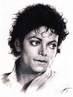Michael Jackson Sketch Portrait Charcoal Pencil Drawing