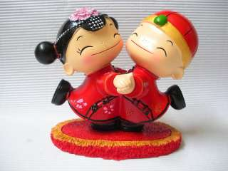Chinese style double happy wedding doll boy & girl set