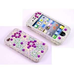 Smile Case 3D Purple and White Flower Bling Rhinestone Crystal Snap on