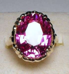 HUGE  ANTIQUE NEAR FLAWLESS 14.75CTS OVAL CUT PINK SAPPHIRE SOLID