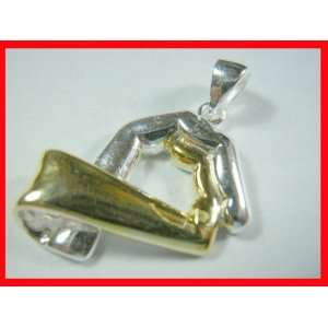 Clenched Fingers Pendant Sterling Silver w/Gold