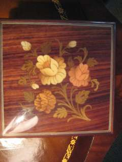 Wood Floral Musical Jewelry Box Swiss Music Movement Italy