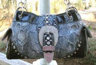 NEW Black Blue Western SNAKE Skin Cowgirl PURSE~Rhinestone Buckle BAG