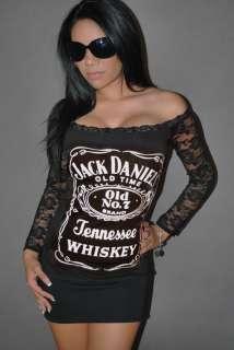 Daniels Top Mini Dress Tunic Whiskey Liquor Rocker Chick Club XS XL