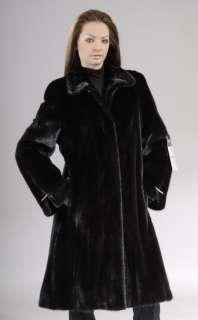 Black natural new let out mink fur coat knee length 3/4  MAILON FURS