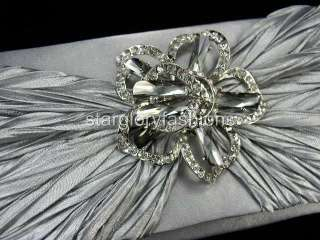 Silver Satin Crinkle Evening Clutch Sparkle Crystal Pin
