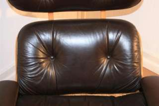 Century Modern Selig Brown Leather Eames Style Lounge Chair & Ottoman