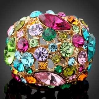 ARINNA Swarovski multi color Crystal Fashion Ring