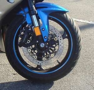 Cool Blue Motorcycle Car Rim Stripe Wheel Tape Decal